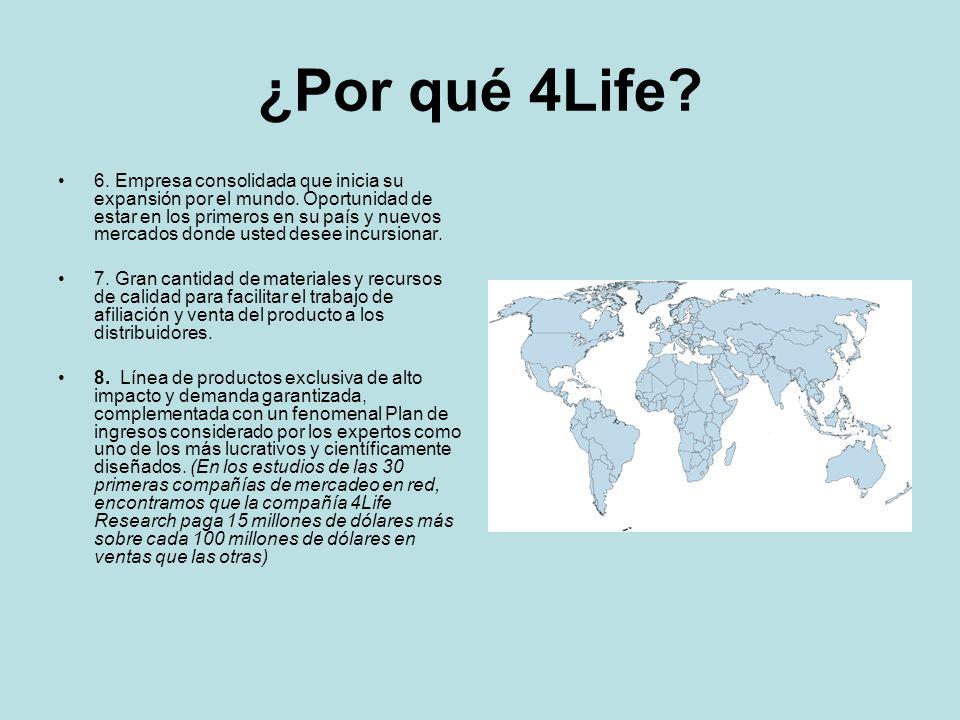 ¿Por qué 4Life? 6. Empresa consolidada que inicia su expansión por el mundo. Oportunidad de estar en los primeros en su país y nuevos mercados donde u