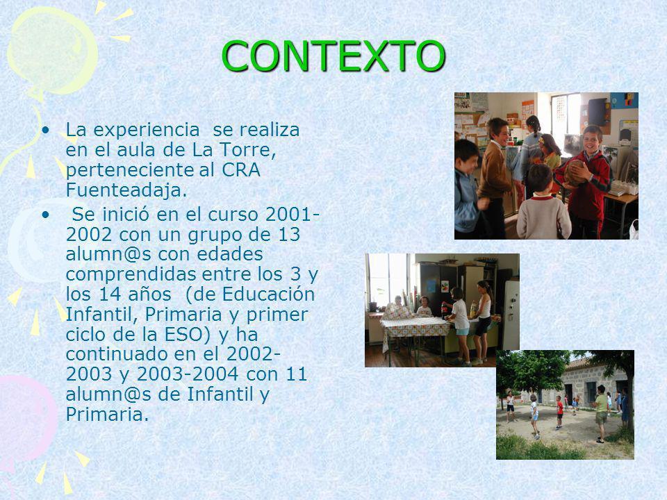 CONTEXTO La experiencia se realiza en el aula de La Torre, perteneciente al CRA Fuenteadaja.