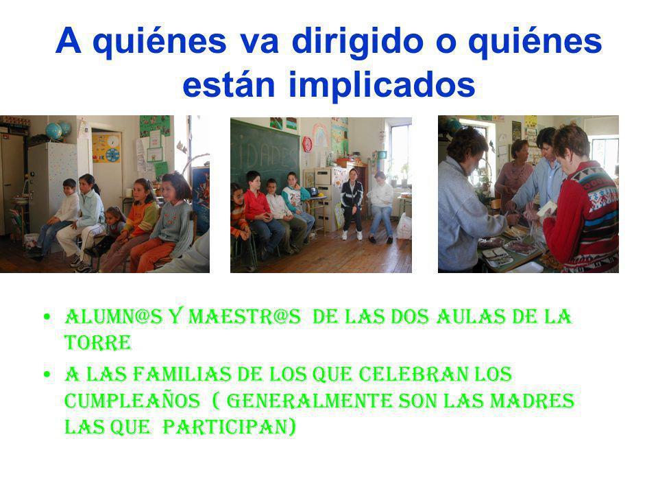 A quiénes va dirigido o quiénes están implicados Alumn@s y maestr@s de las dos aulas de La Torre A las familias de los que celebran los cumpleaños ( generalmente son las madres las que participan)