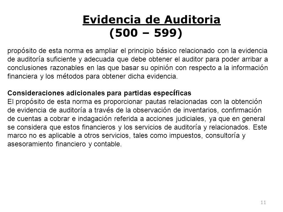 11 prop ó sito de esta norma es ampliar el principio b á sico relacionado con la evidencia de auditor í a suficiente y adecuada que debe obtener el au