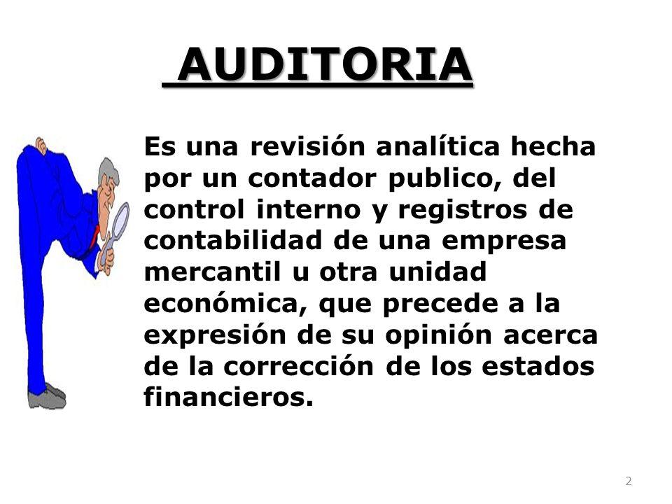 2 AUDITORIA AUDITORIA Es una revisión analítica hecha por un contador publico, del control interno y registros de contabilidad de una empresa mercanti
