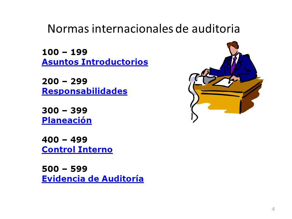 Normas internacionales de auditoria 4 100 – 199 Asuntos Introductorios 200 – 299 Responsabilidades 300 – 399 Planeación 400 – 499 Control Interno 500