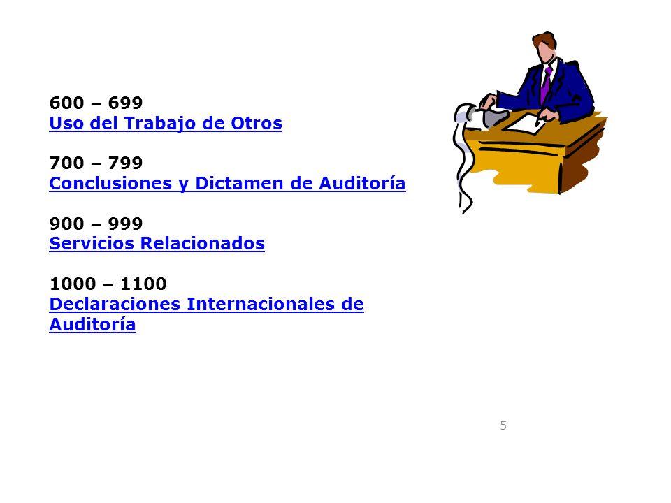 5 600 – 699 Uso del Trabajo de Otros 700 – 799 Conclusiones y Dictamen de Auditoría 900 – 999 Servicios Relacionados 1000 – 1100 Declaraciones Interna
