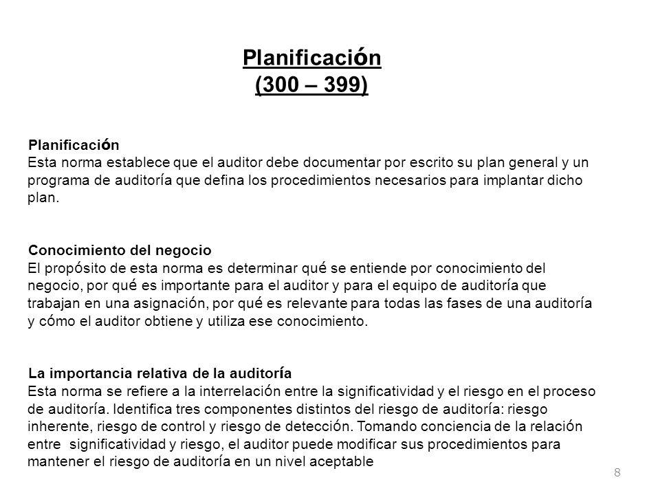8 Planificaci ó n (300 – 399) Planificaci ó n Esta norma establece que el auditor debe documentar por escrito su plan general y un programa de auditor