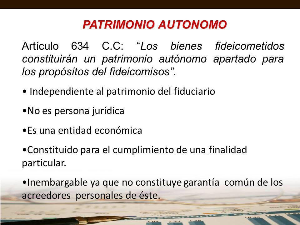 PATRIMONIO AUTONOMO Art. 1410. - (PATRIMONIO AUTONOMO). Los bienes objeto de fideicomiso constituyen un patrimonio autónomo; no forman parte de la gar