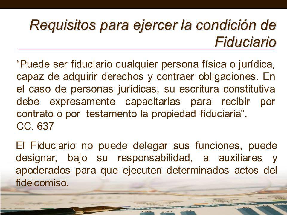 Requisitos para ejercer la condición de Fiduciario El Fiduciario no puede delegar sus funciones, puede designar, bajo su responsabilidad, a auxiliares