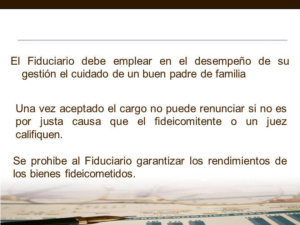 El Fiduciario debe emplear en el desempeño de su gestión el cuidado de un buen padre de familia Una vez aceptado el cargo no puede renunciar si no es