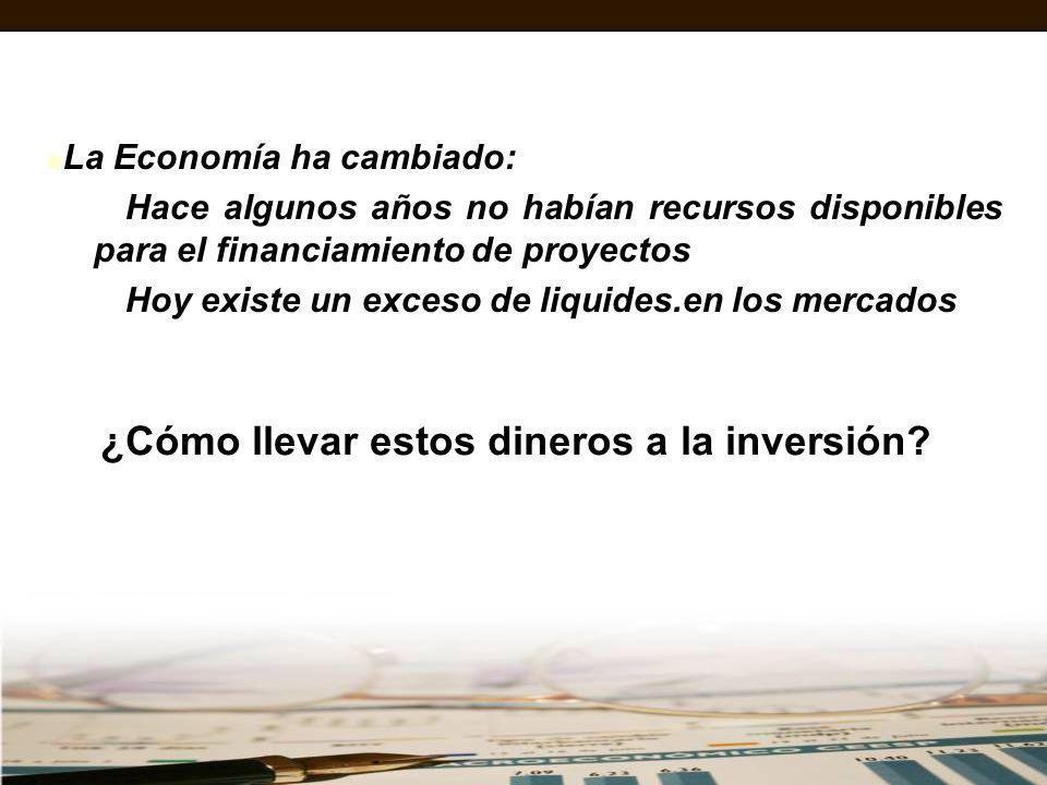 La Economía ha cambiado: Hace algunos años no habían recursos disponibles para el financiamiento de proyectos Hoy existe un exceso de liquides.en los