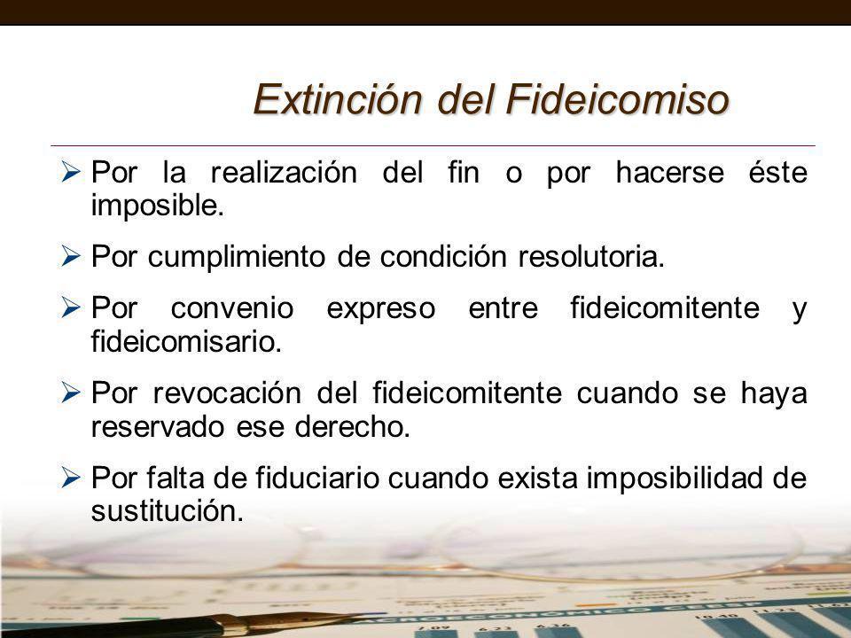 Extinción del Fideicomiso Por la realización del fin o por hacerse éste imposible. Por cumplimiento de condición resolutoria. Por convenio expreso ent
