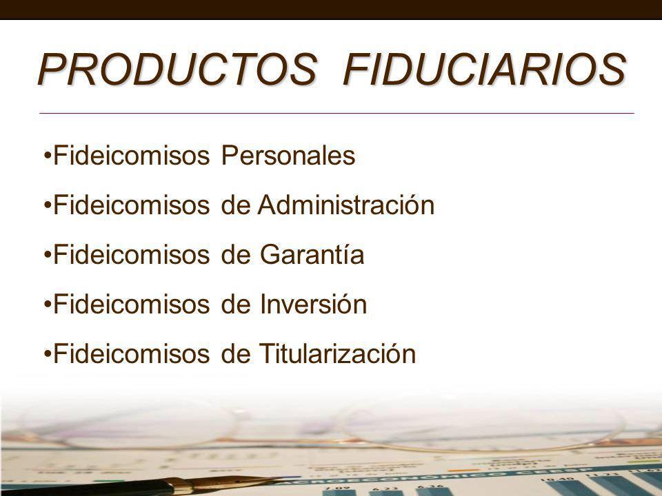 PRODUCTOS FIDUCIARIOS Fideicomisos Personales Fideicomisos de Administración Fideicomisos de Garantía Fideicomisos de Inversión Fideicomisos de Titula