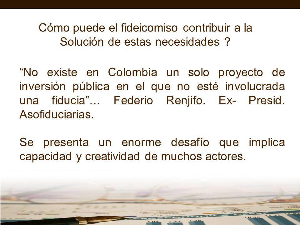 Cómo puede el fideicomiso contribuir a la Solución de estas necesidades ? No existe en Colombia un solo proyecto de inversión pública en el que no est