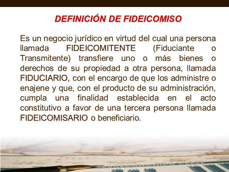 DEFINICIÓN DE FIDEICOMISO FIDEICOMITENTE FIDUCIARIO, FIDEICOMISARIO Es un negocio jurídico en virtud del cual una persona llamada FIDEICOMITENTE (Fidu