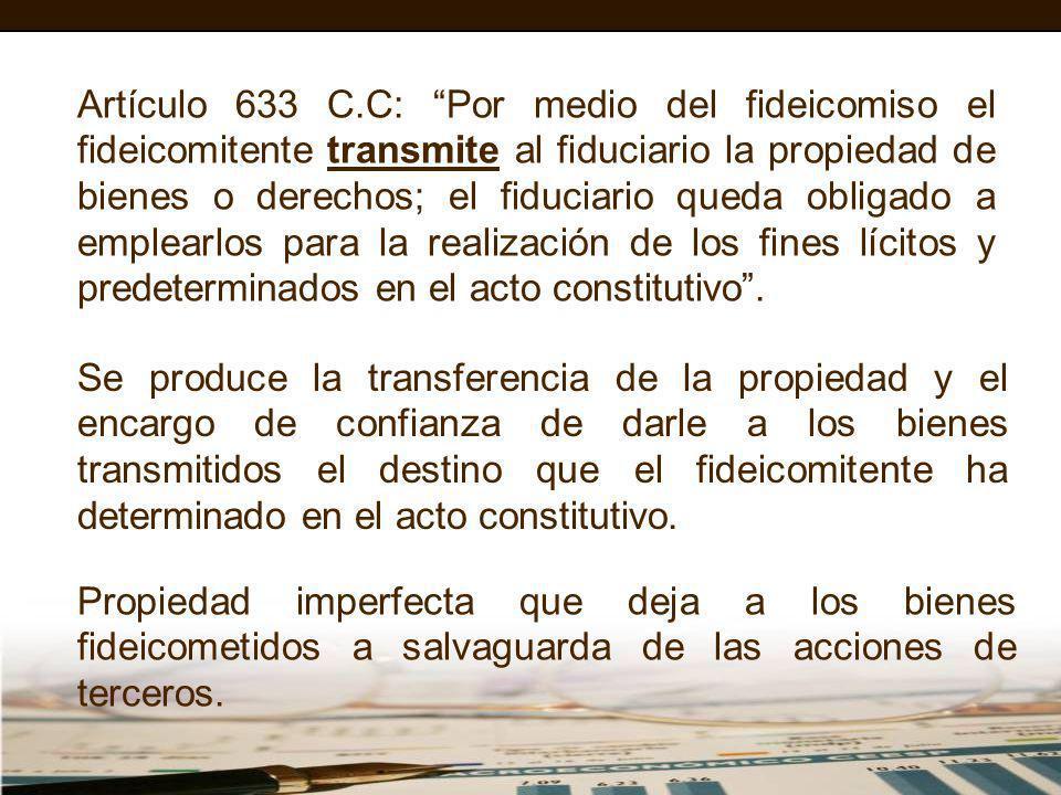 Artículo 633 C.C: Por medio del fideicomiso el fideicomitente transmite al fiduciario la propiedad de bienes o derechos; el fiduciario queda obligado