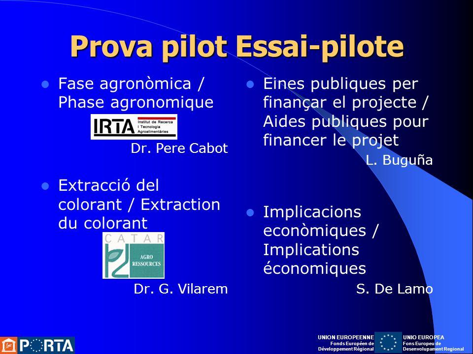 Prova pilot Essai-pilote Fase agronòmica / Phase agronomique Dr.