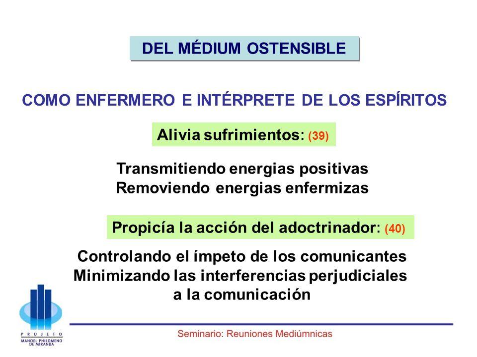COMO ENFERMERO E INTÉRPRETE DE LOS ESPÍRITOS Alivia sufrimientos : (39) Transmitiendo energias positivas Removiendo energias enfermizas Propicía la ac