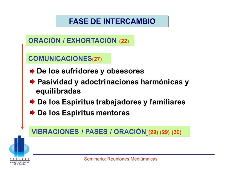FASE DE INTERCAMBIO ORACIÓN / EXHORTACIÓN (22) De los sufridores y obsesores Pasividad y adoctrinaciones harmónicas y equilibradas De los Espíritus tr
