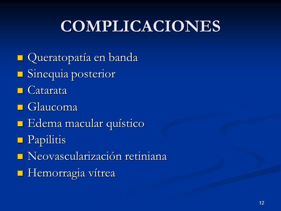 12 COMPLICACIONES Queratopatía en banda Queratopatía en banda Sinequia posterior Sinequia posterior Catarata Catarata Glaucoma Glaucoma Edema macular