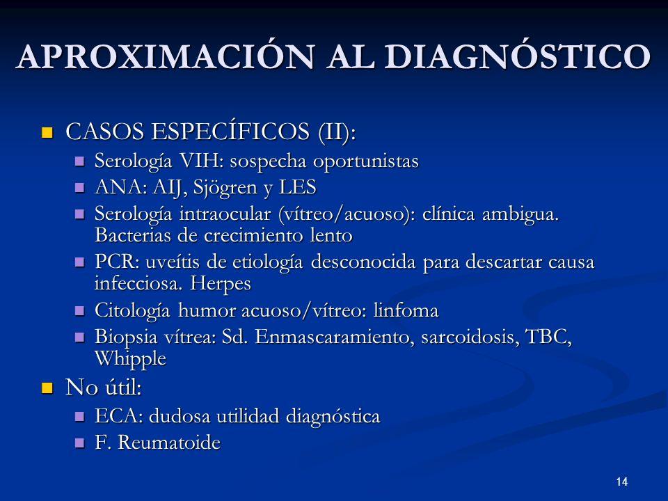 14 APROXIMACIÓN AL DIAGNÓSTICO CASOS ESPECÍFICOS (II): CASOS ESPECÍFICOS (II): Serología VIH: sospecha oportunistas Serología VIH: sospecha oportunist
