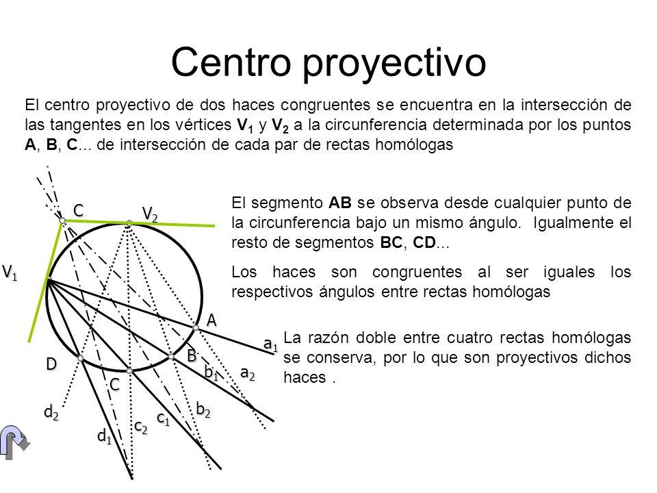 Series de primer orden y de segundo V A BC A2 B2 C2 L2 Se pueden relacionar los elementos de una serie (ABC...) de primer orden y una serie de segundo orden mediante una proyección desde cualquier punto V de una circunferencia (ABCD)=(A1 B1 C1 D1) L