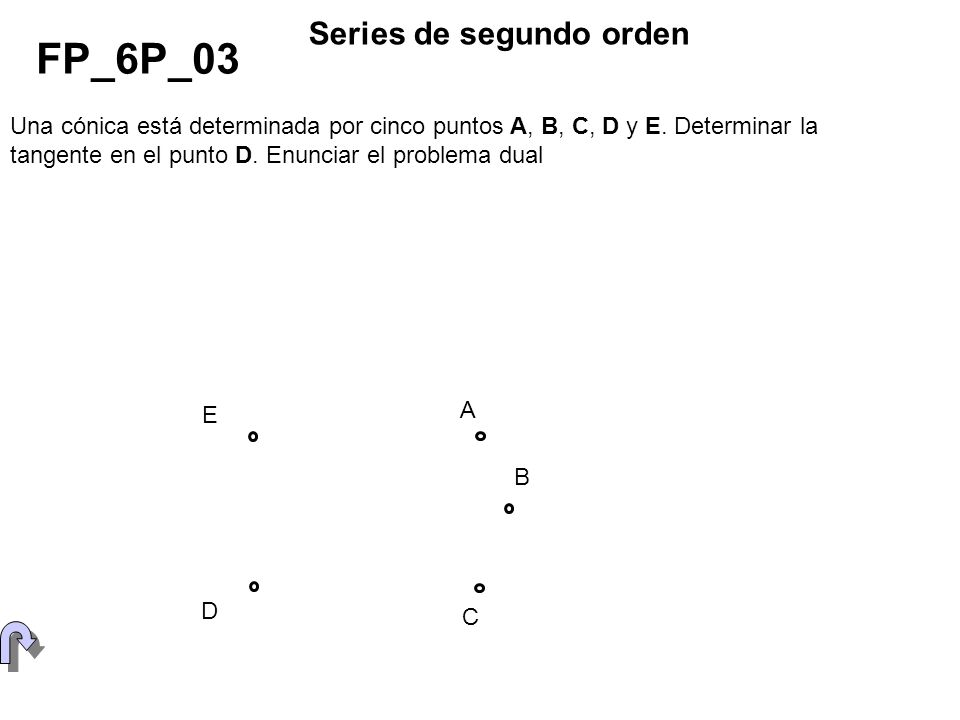 Una cónica está determinada por cuatro puntos B, C, D y E y la tangente t en uno de ellos.