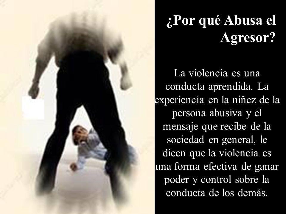 La violencia es una conducta aprendida. La experiencia en la niñez de la persona abusiva y el mensaje que recibe de la sociedad en general, le dicen q