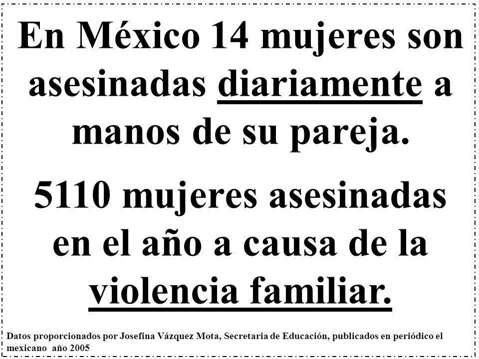 En México 14 mujeres son asesinadas diariamente a manos de su pareja. 5110 mujeres asesinadas en el año a causa de la violencia familiar. Datos propor