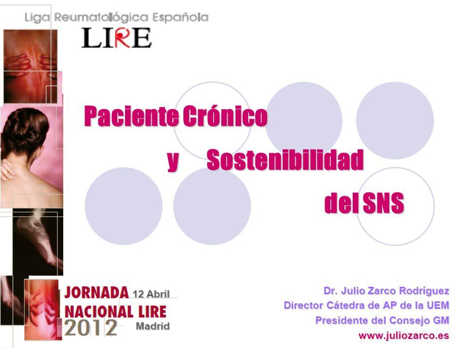 Paciente Crónico y Sostenibilidad del SNS Dr. Julio Zarco Rodríguez Director Cátedra de AP de la UEM Presidente del Consejo GM www.juliozarco.es 12 Ab