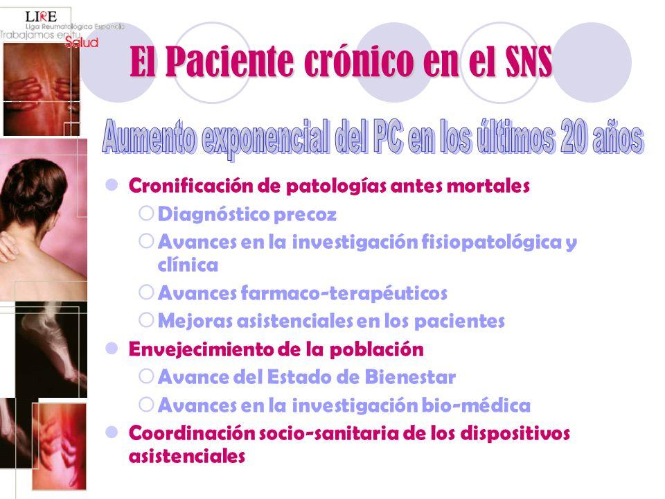 El Paciente crónico en el SNS Cronificación de patologías antes mortales Diagnóstico precoz Avances en la investigación fisiopatológica y clínica Avan