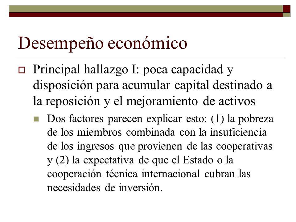 Desempeño económico Principal hallazgo I: poca capacidad y disposición para acumular capital destinado a la reposición y el mejoramiento de activos Do