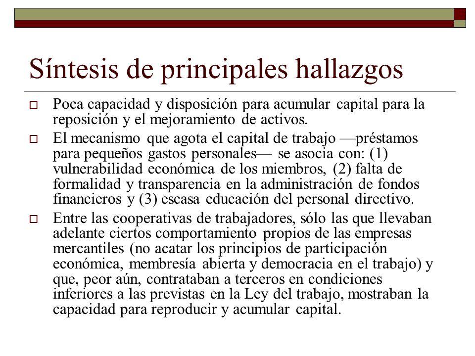 Síntesis de principales hallazgos Poca capacidad y disposición para acumular capital para la reposición y el mejoramiento de activos. El mecanismo que
