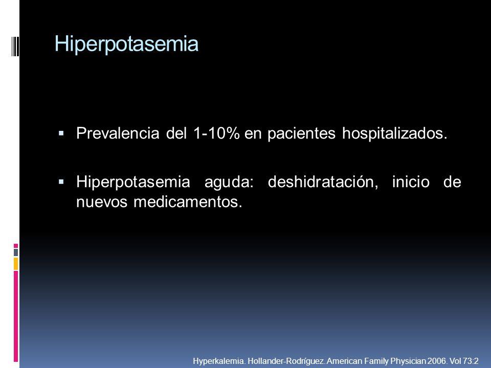 Hiperpotasemia Prevalencia del 1-10% en pacientes hospitalizados. Hiperpotasemia aguda: deshidratación, inicio de nuevos medicamentos. Hyperkalemia. H