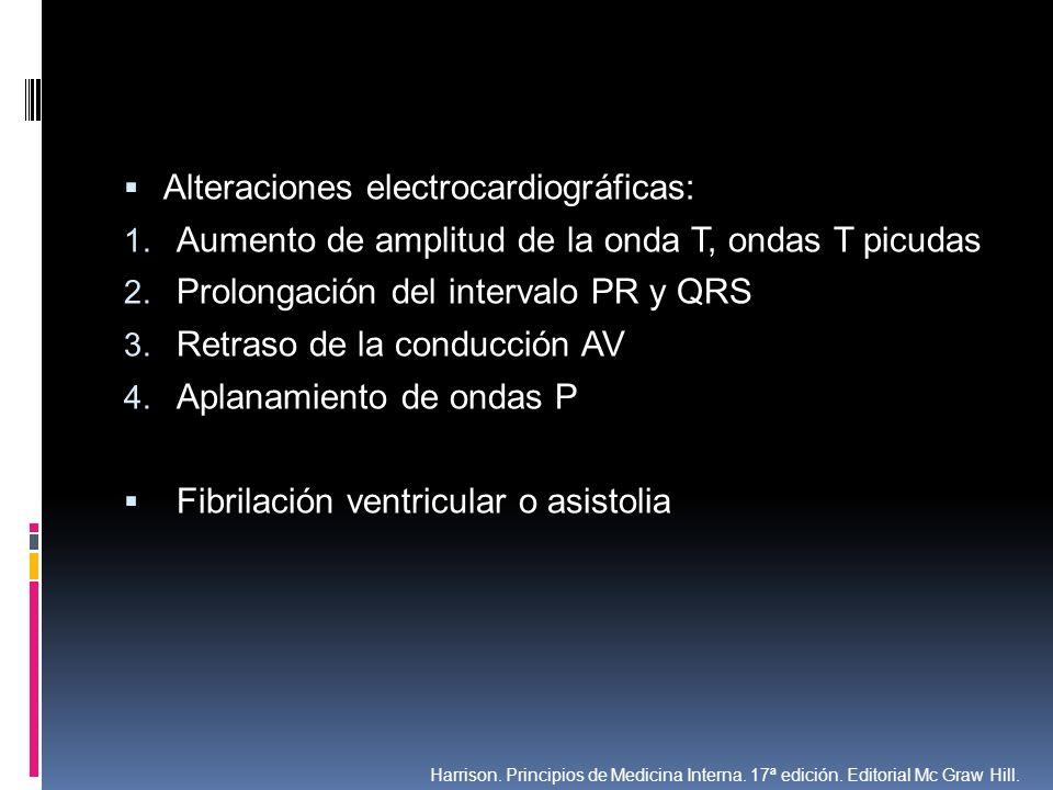 Alteraciones electrocardiográficas: 1. Aumento de amplitud de la onda T, ondas T picudas 2. Prolongación del intervalo PR y QRS 3. Retraso de la condu