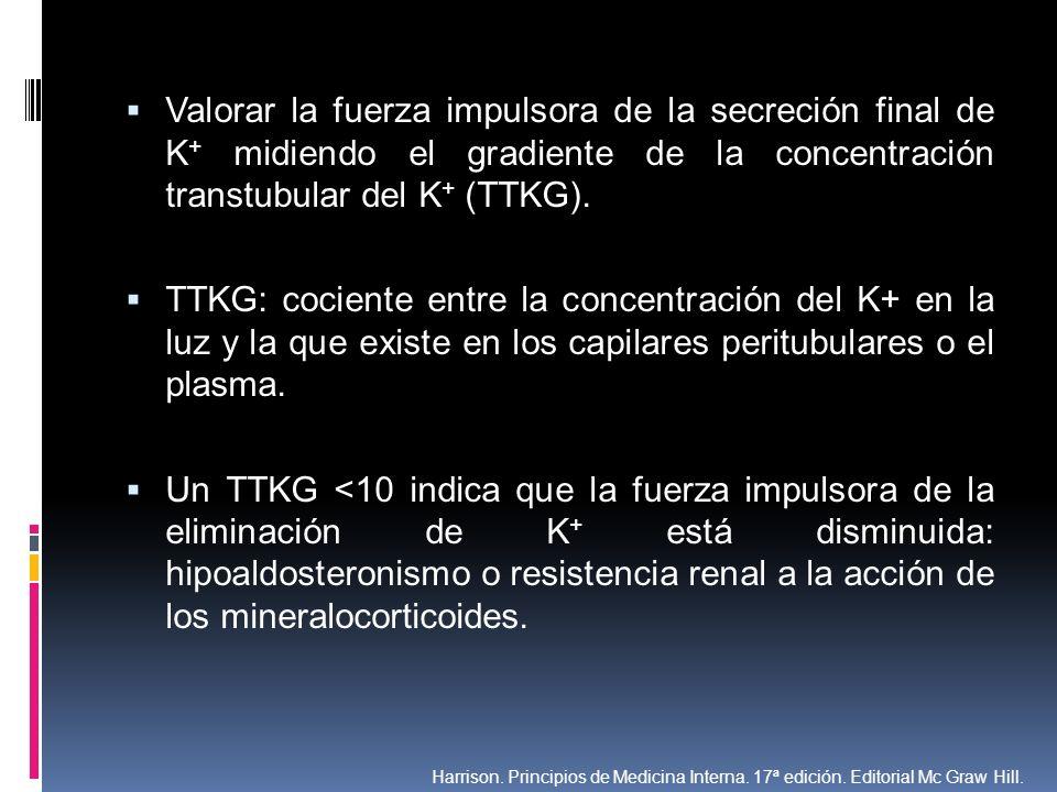 Valorar la fuerza impulsora de la secreción final de K + midiendo el gradiente de la concentración transtubular del K + (TTKG). TTKG: cociente entre l