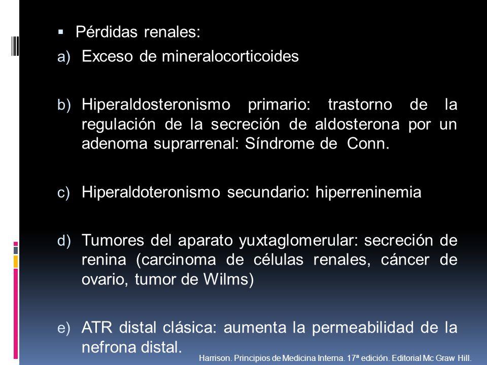 Pérdidas renales: a) Exceso de mineralocorticoides b) Hiperaldosteronismo primario: trastorno de la regulación de la secreción de aldosterona por un a
