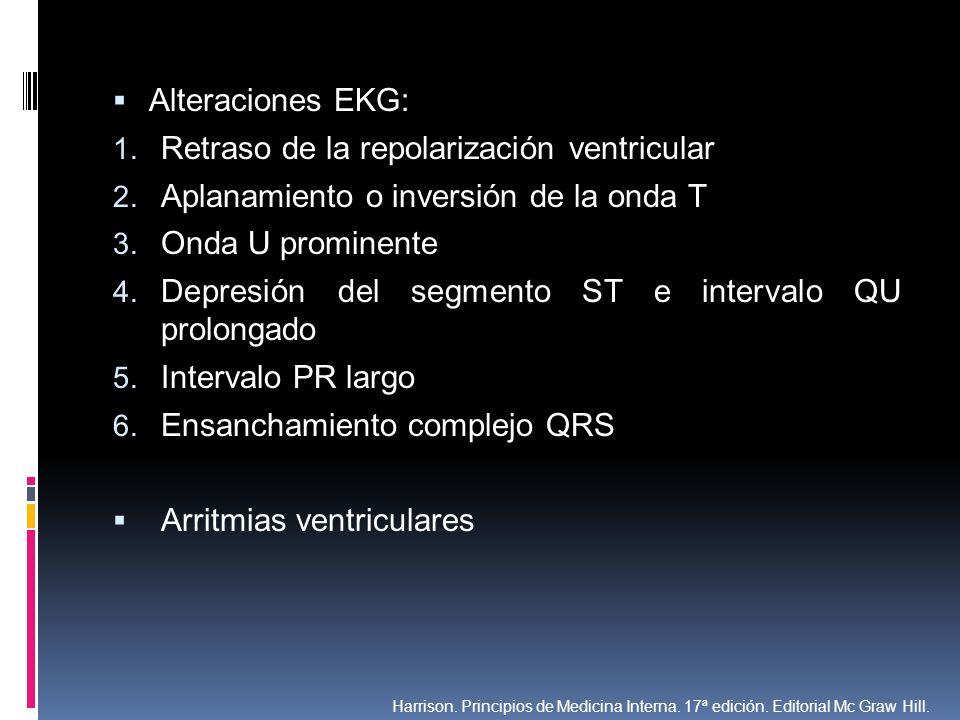 Alteraciones EKG: 1. Retraso de la repolarización ventricular 2. Aplanamiento o inversión de la onda T 3. Onda U prominente 4. Depresión del segmento