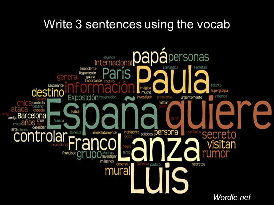 Write 3 sentences using the vocab Wordle.net