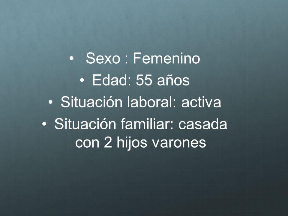 Sexo : Femenino Edad: 55 años Situación laboral: activa Situación familiar: casada con 2 hijos varones