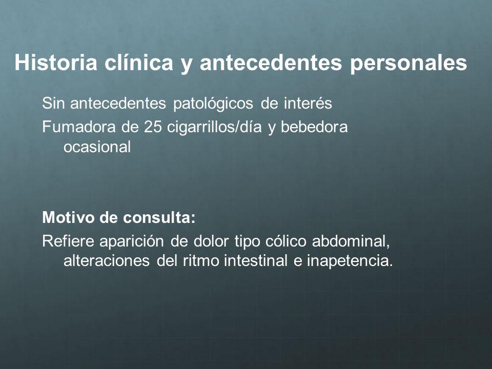 Historia clínica y antecedentes personales Sin antecedentes patológicos de interés Fumadora de 25 cigarrillos/día y bebedora ocasional Motivo de consu