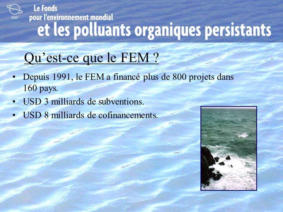 Quest-ce que le FEM ? Depuis 1991, le FEM a financé plus de 800 projets dans 160 pays. USD 3 milliards de subventions. USD 8 milliards de cofinancemen