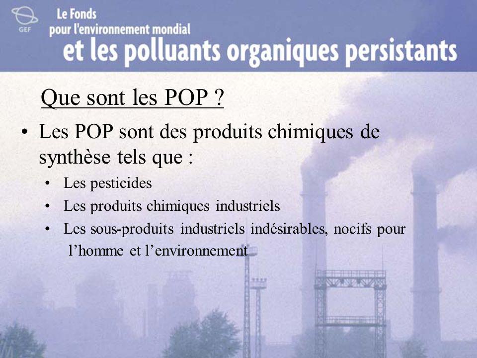 Que sont les POP ? Les POP sont des produits chimiques de synthèse tels que : Les pesticides Les produits chimiques industriels Les sous-produits indu