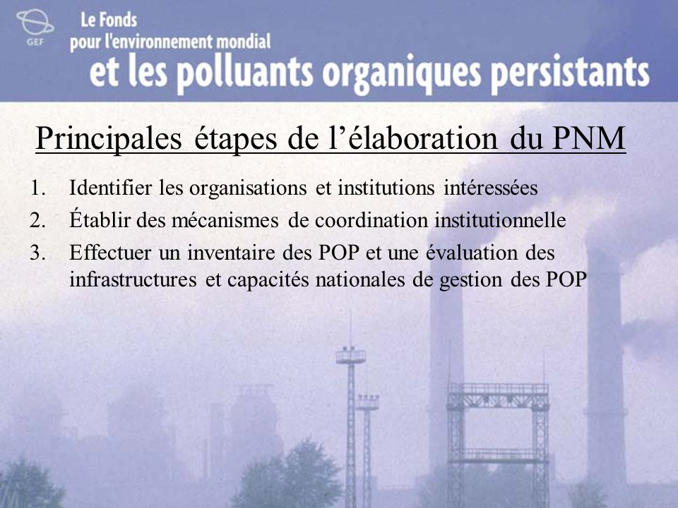 Principales étapes de lélaboration du PNM 1.Identifier les organisations et institutions intéressées 2.Établir des mécanismes de coordination institut
