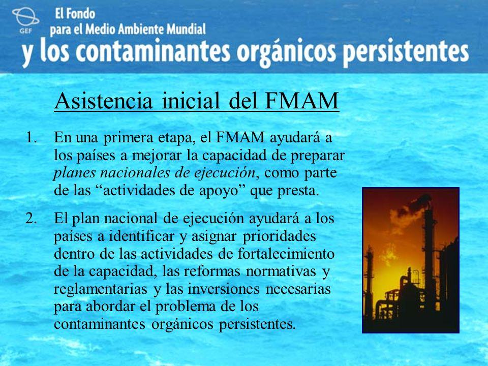 Asistencia inicial del FMAM 1.En una primera etapa, el FMAM ayudará a los países a mejorar la capacidad de preparar planes nacionales de ejecución, co