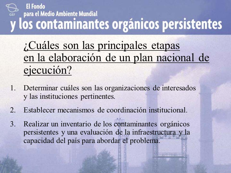 ¿Cuáles son las principales etapas en la elaboración de un plan nacional de ejecución? 1.Determinar cuáles son las organizaciones de interesados y las