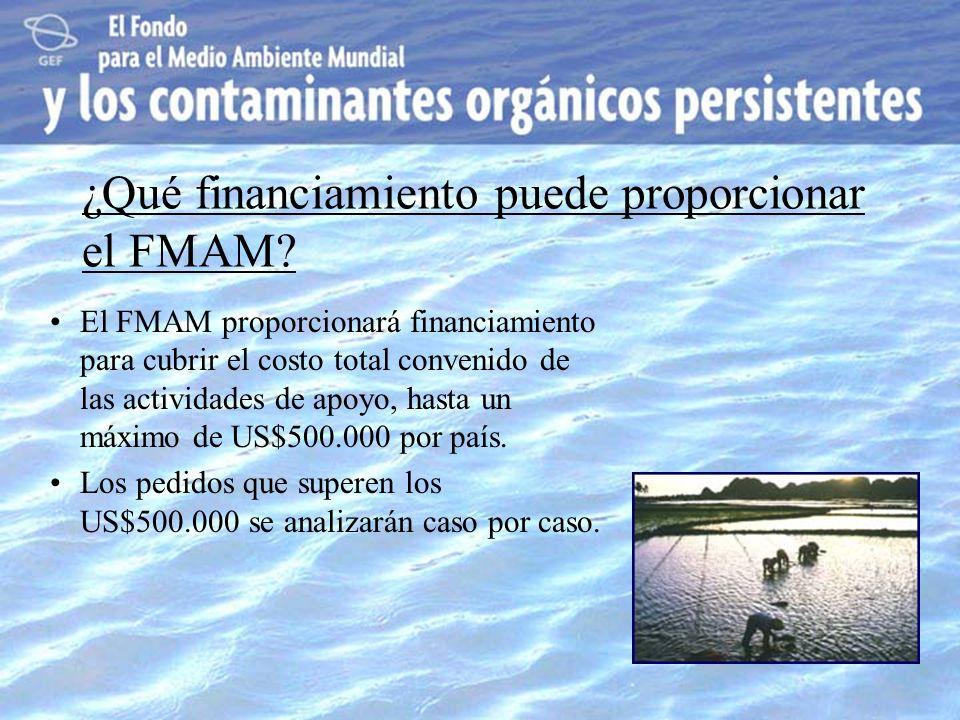 ¿Qué financiamiento puede proporcionar el FMAM? El FMAM proporcionará financiamiento para cubrir el costo total convenido de las actividades de apoyo,