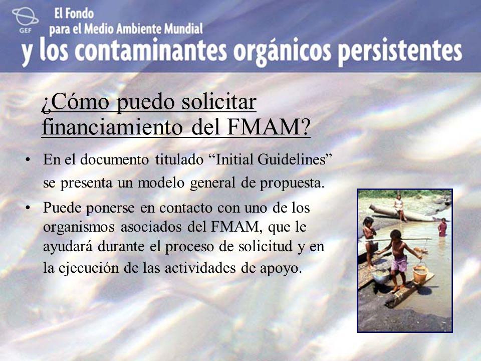 ¿Cómo puedo solicitar financiamiento del FMAM? En el documento titulado Initial Guidelines se presenta un modelo general de propuesta. Puede ponerse e