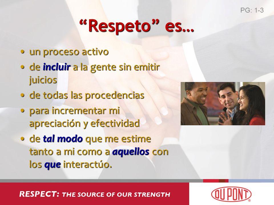Respeto es… un proceso activoun proceso activo de incluir a la gente sin emitir juiciosde incluir a la gente sin emitir juicios de todas las procedenc