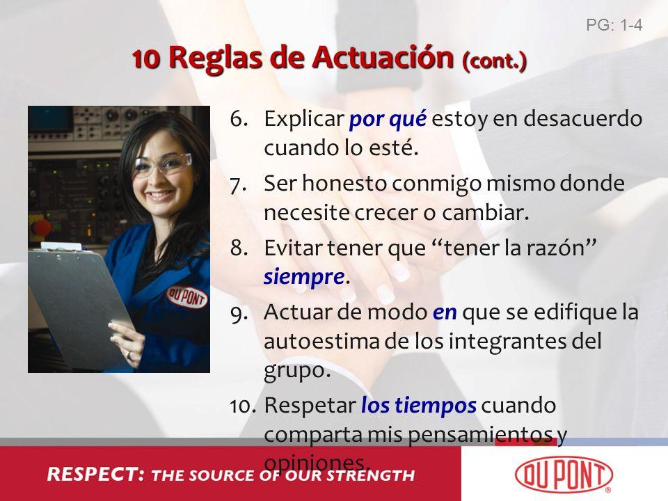 10 Reglas de Actuación (cont.) 6.Explicar por qué estoy en desacuerdo cuando lo esté. 7.Ser honesto conmigo mismo donde necesite crecer o cambiar. 8.E