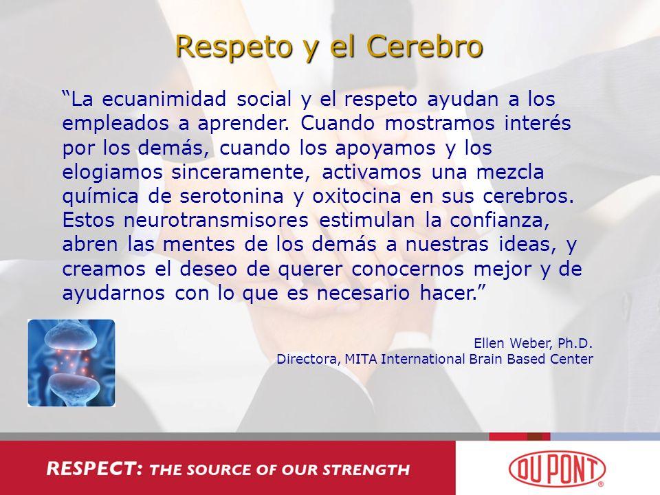 Respeto y el Cerebro La ecuanimidad social y el respeto ayudan a los empleados a aprender. Cuando mostramos interés por los demás, cuando los apoyamos