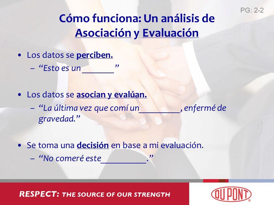 Cómo funciona: Un análisis de Asociación y Evaluación Los datos se perciben. –Esto es un _______ Los datos se asocian y evalúan. –La última vez que co