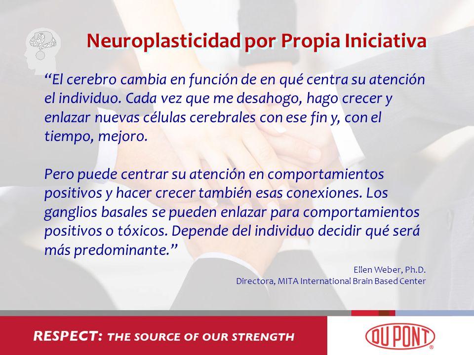 Neuroplasticidad por Propia Iniciativa El cerebro cambia en función de en qué centra su atención el individuo. Cada vez que me desahogo, hago crecer y